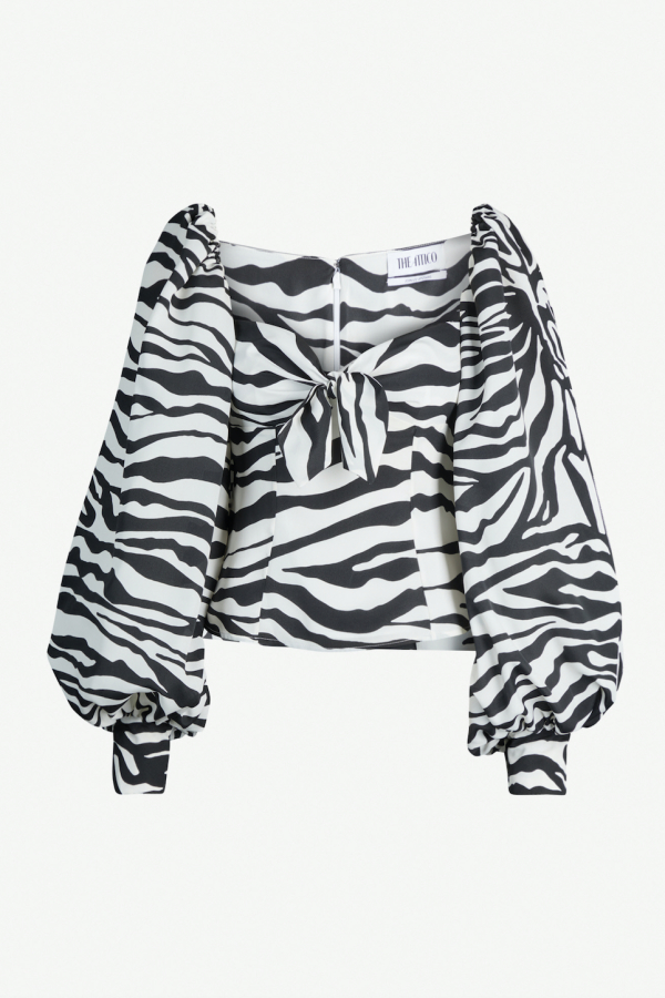 Attico Puffed sleeve Zebra Top