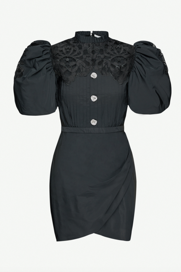Alessandra Rich Puff Sleeve Mini Dress