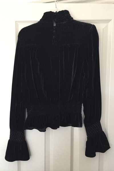FRAME Shirred Velvet Turtleneck Top Black 3