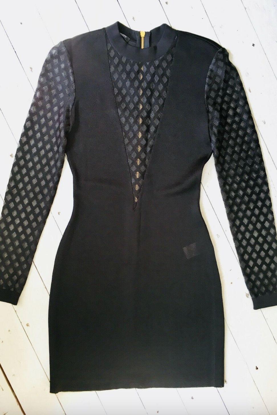 Balmain Sheer-Panelled Black Mini Dress Preview Images