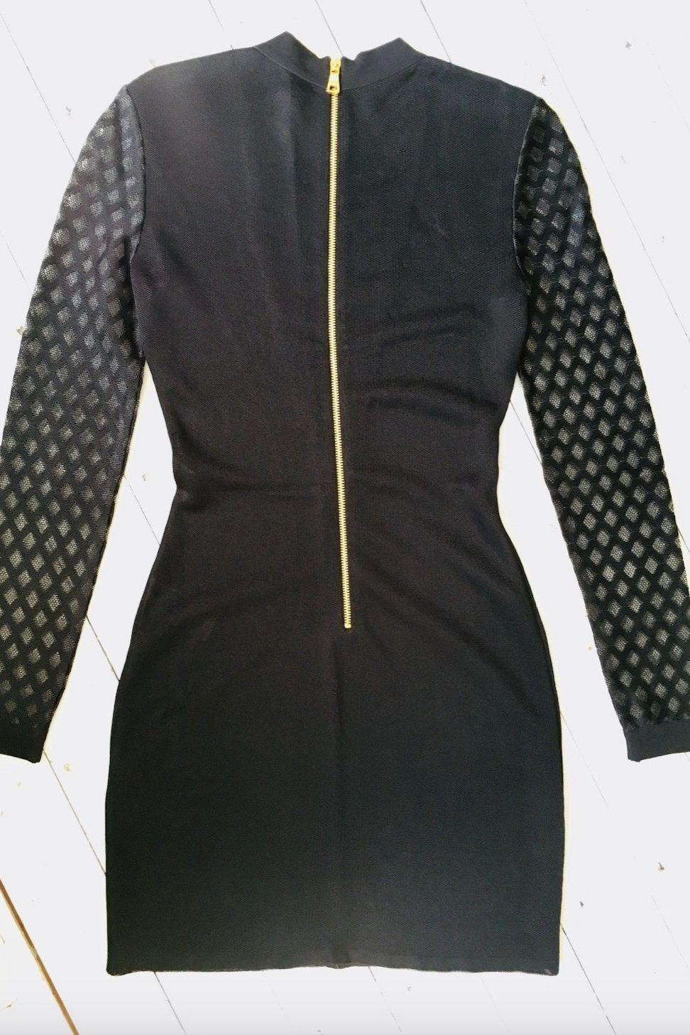 Balmain Sheer-Panelled Black Mini Dress 2 Preview Images