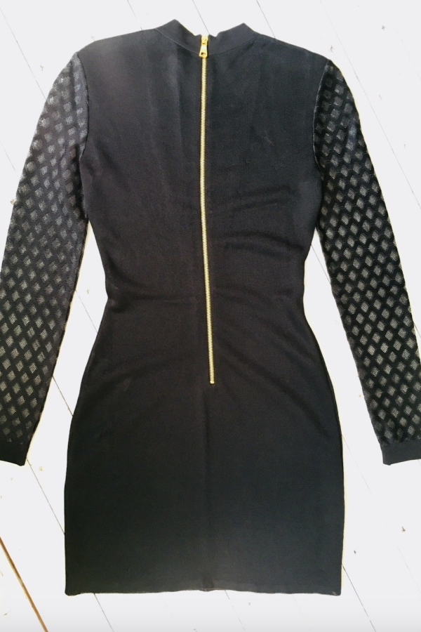 Balmain Sheer-Panelled Black Mini Dress 2