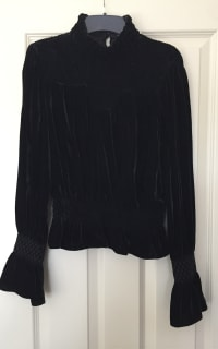 FRAME Shirred Velvet Turtleneck Top Black Preview Images