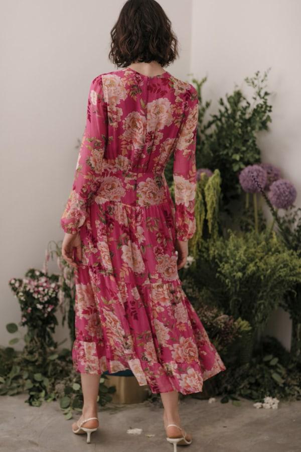 Image 2 of Sau Lee faith silk chiffon dress