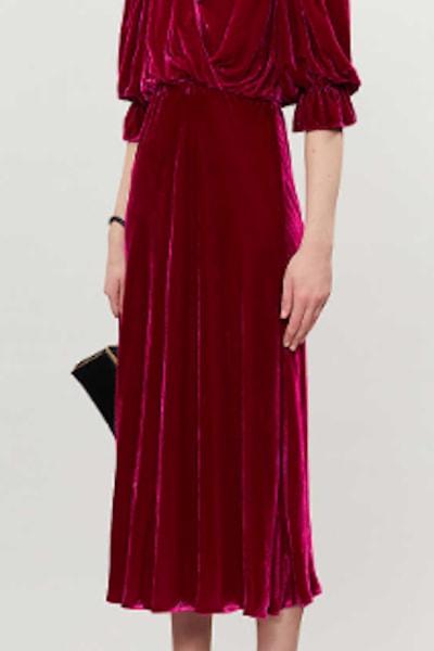 Ghost Gracie V Neck Velvet Dress 2