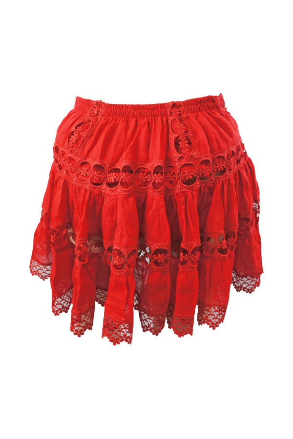 Image 1 of Charo Ruiz Ibiza greta tiered guipure lace skirt