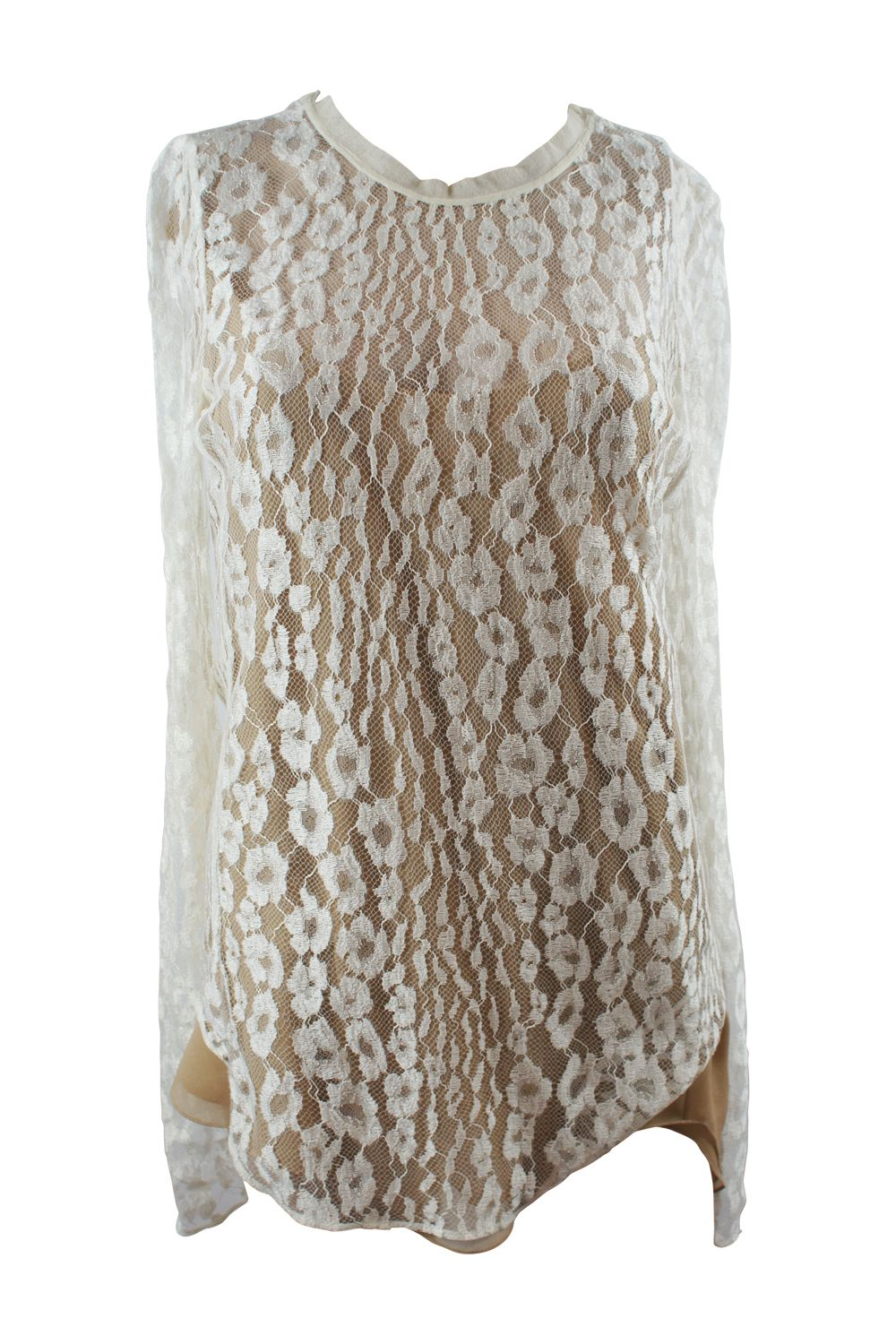 Chloé White Contrast Lined Long Sleeve Floral Lace Top 3 Preview Images
