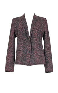 The Kooples Burgundy & Black Animal Print Blazer  5 Preview Images