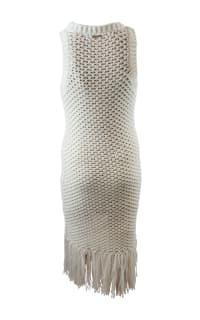 Michael Kors Fringe Trim Cotton-Blend Knit Dress Preview Images