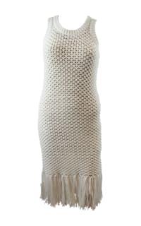 Michael Kors Fringe Trim Cotton-Blend Knit Dress 4 Preview Images