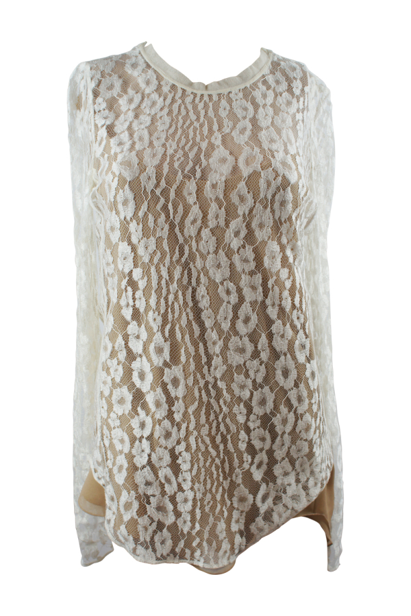 Chloé White Contrast Lined Long Sleeve Floral Lace Top 3
