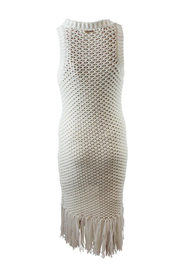 Michael Kors Fringe Trim Cotton-Blend Knit Dress