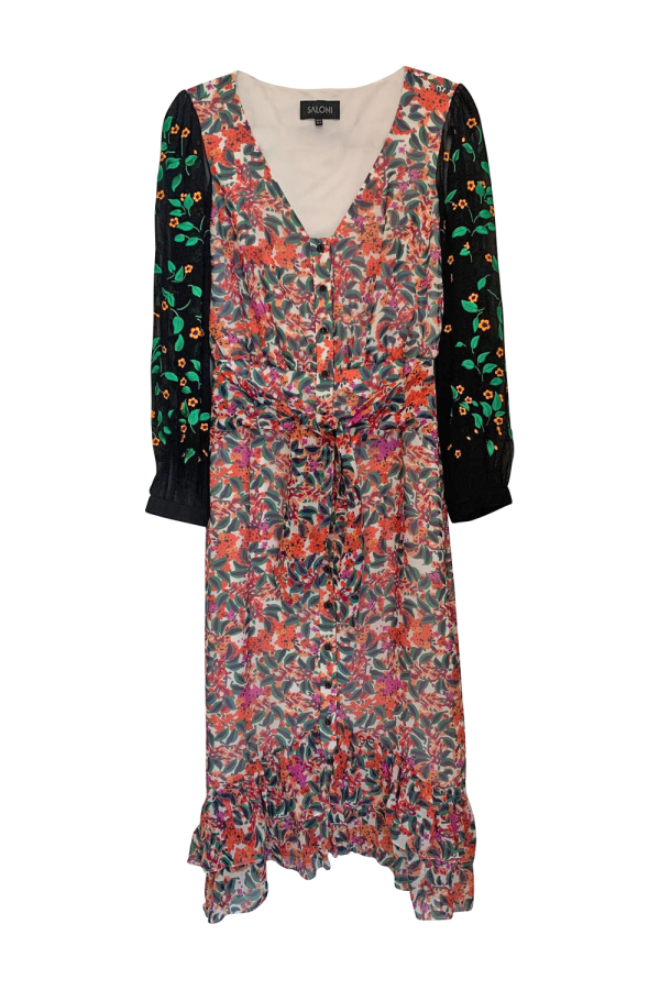 Saloni Floral Midi Dress