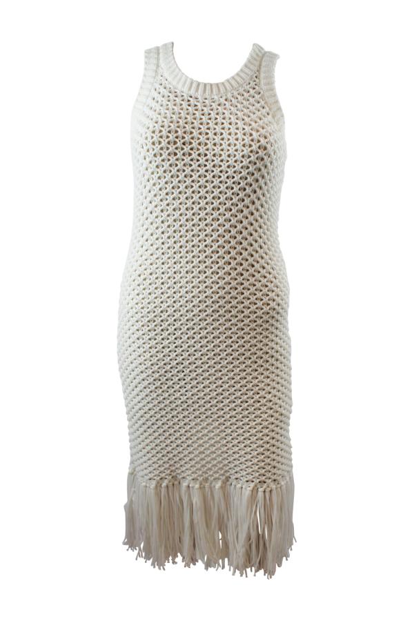 Michael Kors Fringe Trim Cotton-Blend Knit Dress 4