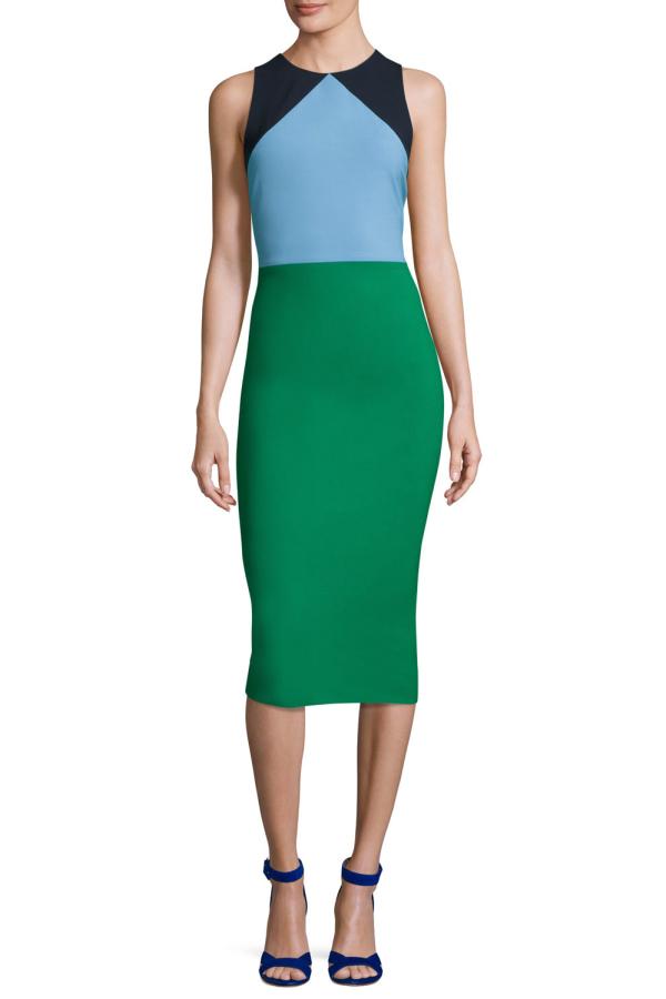 Diane Von Furstenberg Colour block midi dress 2
