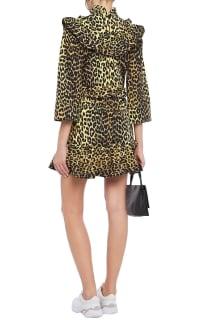 Ganni Leopard ruffled poplin dress 3 Preview Images