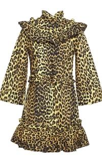 Ganni Leopard ruffled poplin dress Preview Images