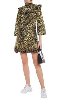 Ganni Leopard ruffled poplin dress 2 Preview Images