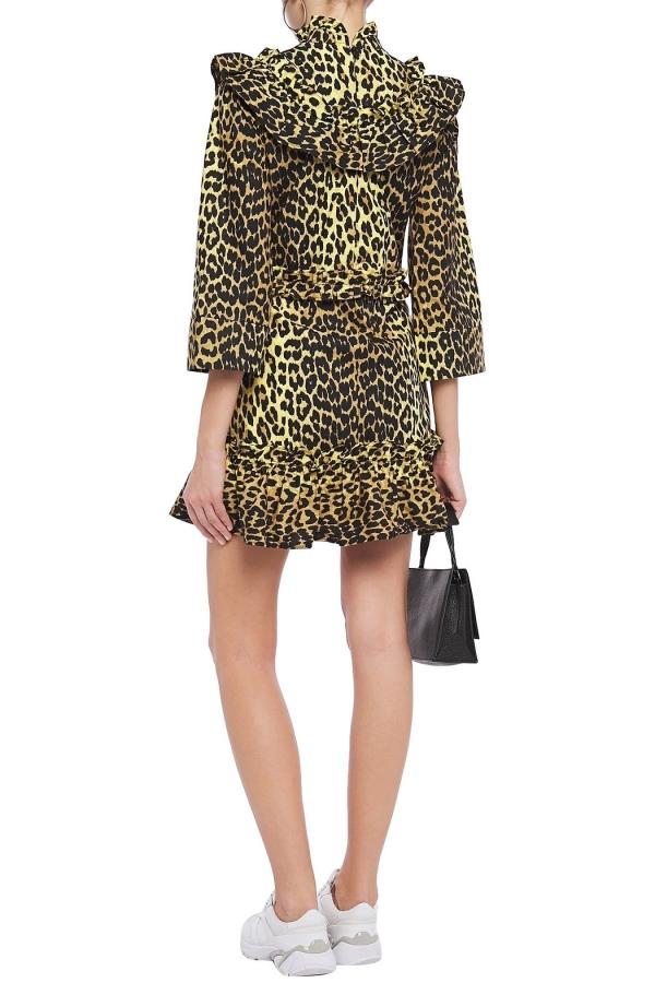 Ganni Leopard ruffled poplin dress 3