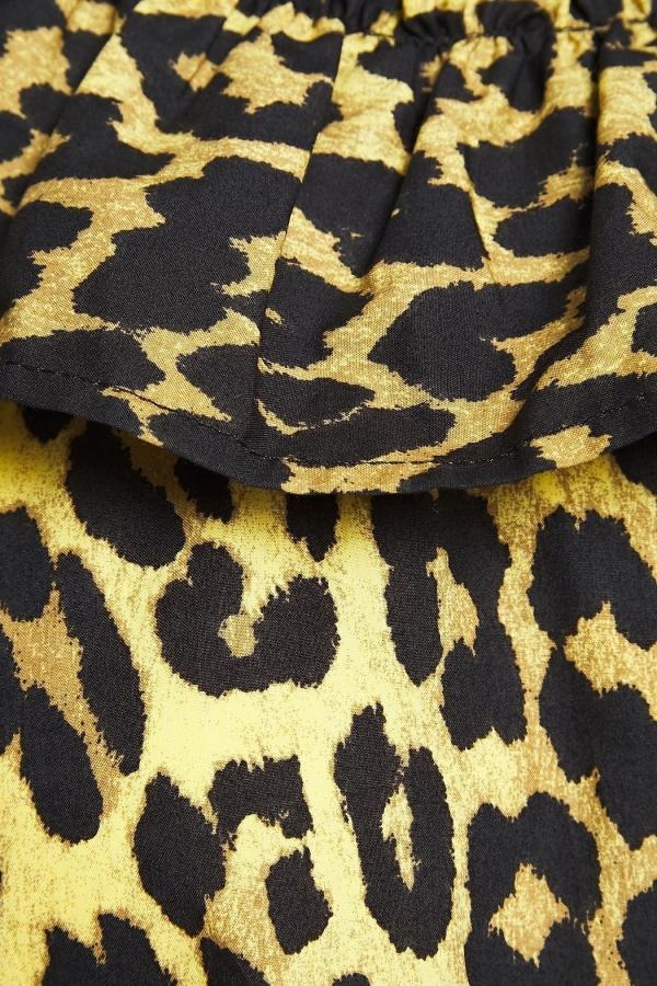 Ganni Leopard ruffled poplin dress 4