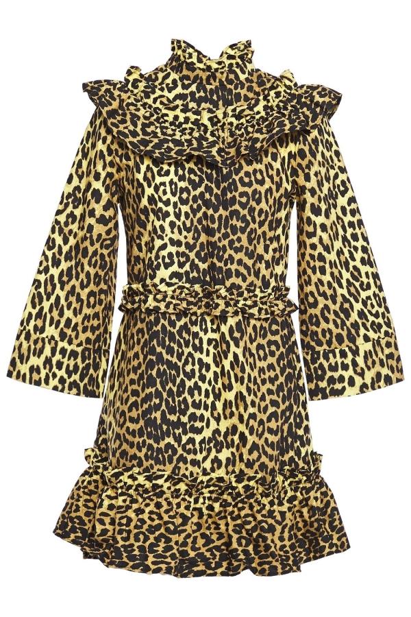 Ganni Leopard ruffled poplin dress