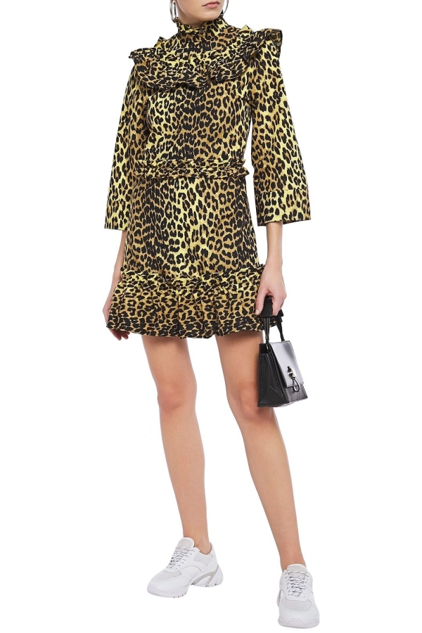 Ganni Leopard ruffled poplin dress 2