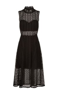 Sandro Black Panel Midi Dress Preview Images