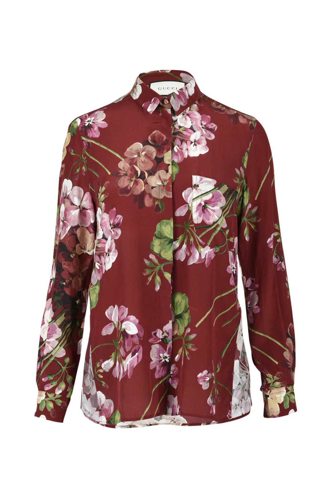 GUCCI - RED BLOOMS PRINT BLOUSE