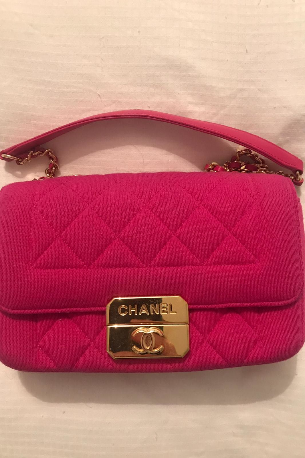 Chanel Hot Pink Quilted Jersey Mini Flap Bag 5