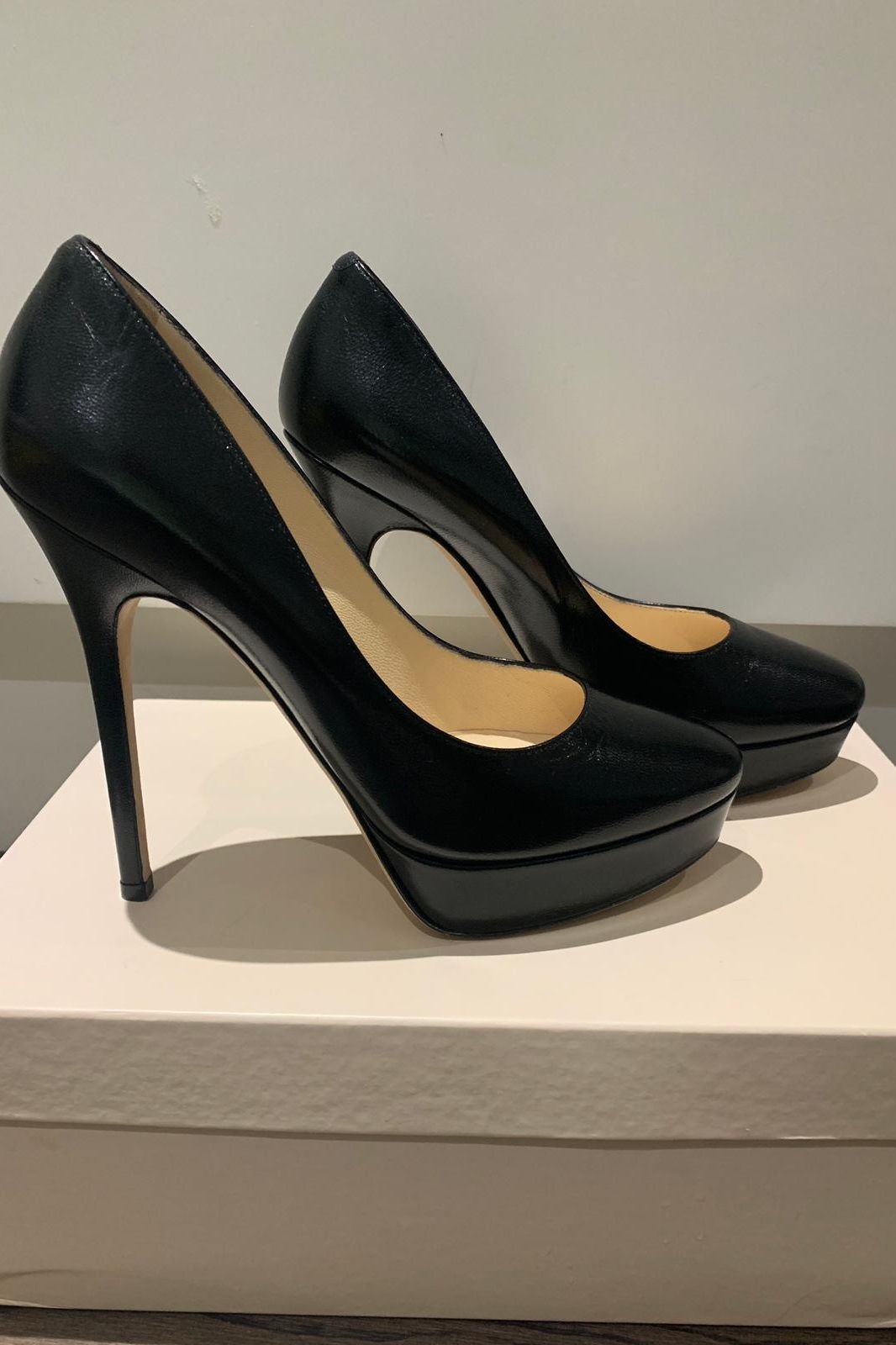 Jimmy Choo Black Leather 247 Cosmic Pumps 4 Preview Images