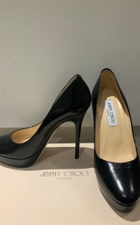 Jimmy Choo Black Leather 247 Cosmic Pumps 2 Preview Images