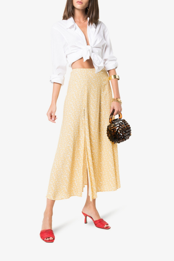 Reformation High Rise Floral midi skirt 3