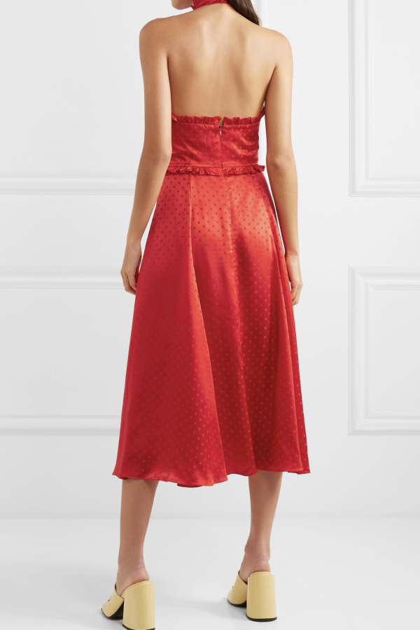 Alexa Chung Polka-dot silk-blend jacquard dress 3
