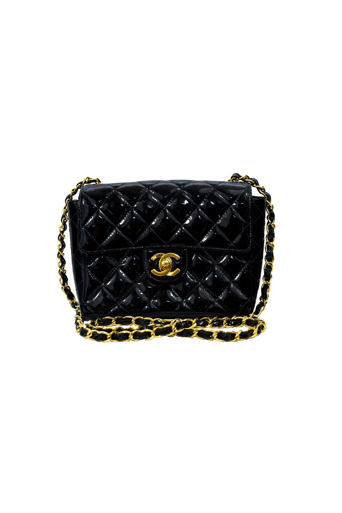Chanel Black Single Flap Mini Patent Leather Handbag Small Size  2 Preview Images