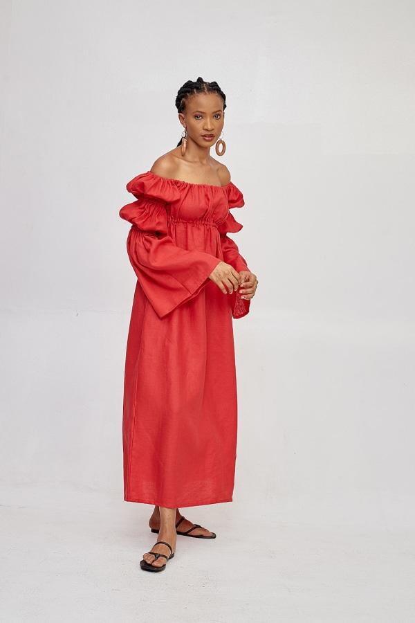 Míe Red Phi Phi linen dress 0 Preview Images