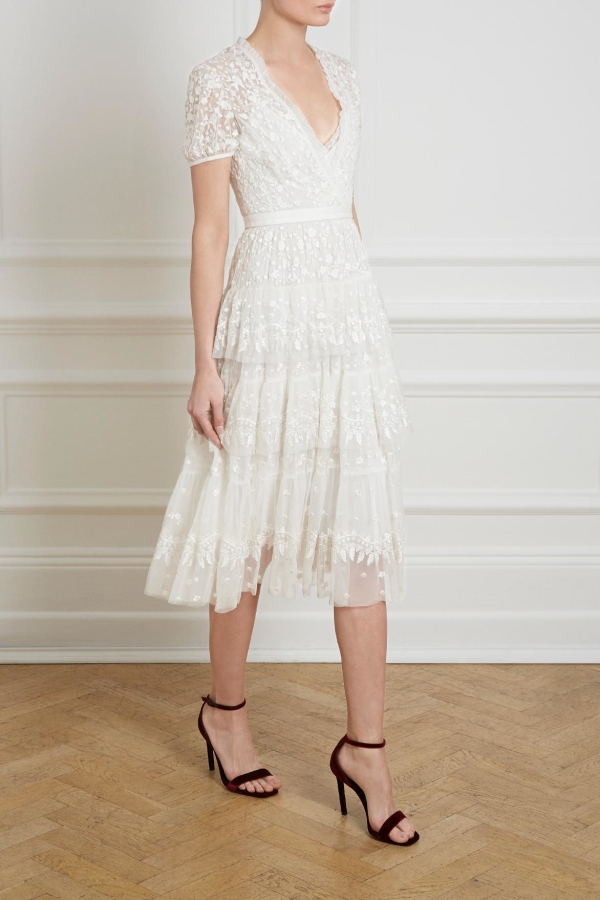 Needle & Thread White Tiered Lace Dress 5 Preview Images
