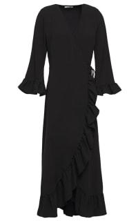 Ganni Clark Ruffle Trim Wrap Dress Preview Images