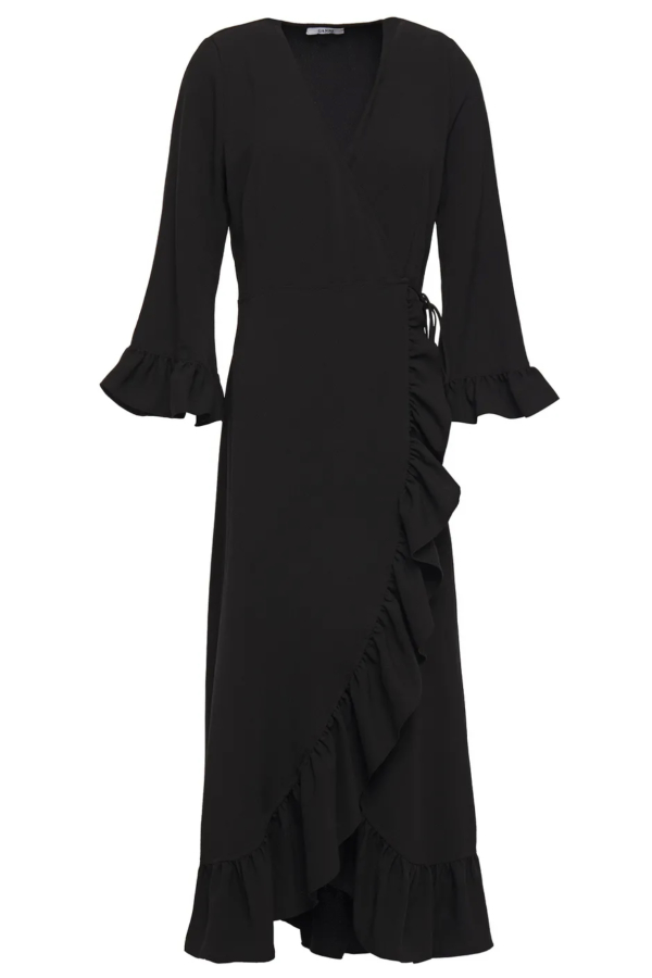 Ganni Clark Ruffle Trim Wrap Dress