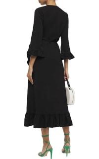 Ganni Clark Ruffle Trim Wrap Dress 3 Preview Images