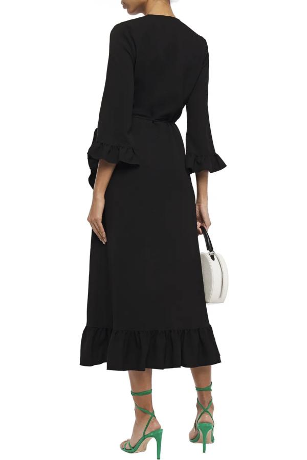 Ganni Clark Ruffle Trim Wrap Dress 3