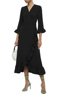 Ganni Clark Ruffle Trim Wrap Dress 2 Preview Images