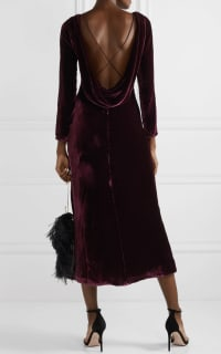 Saloni Tina Boat-Neck Velvet Dress Preview Images