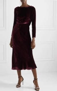 Saloni Tina Boat-Neck Velvet Dress 5 Preview Images