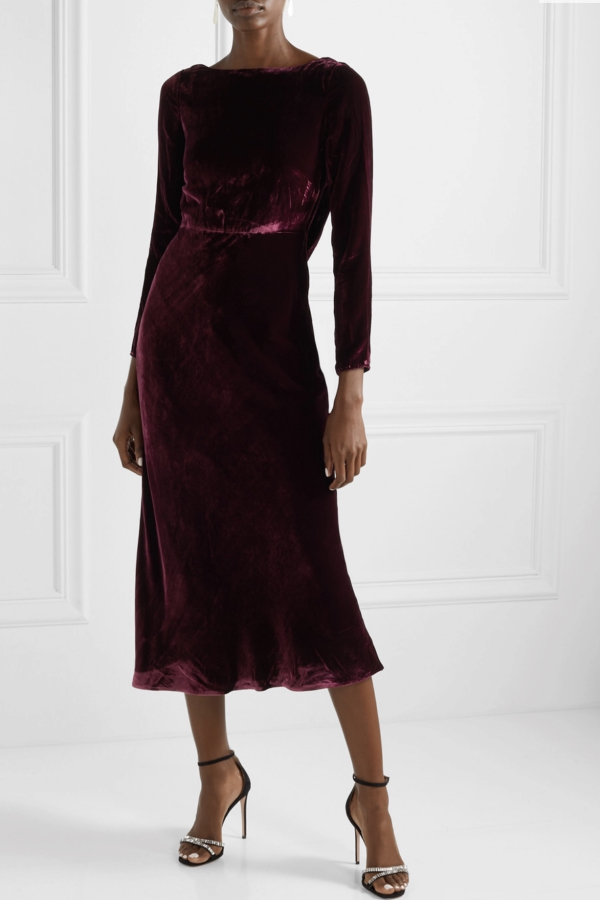 Saloni Tina Boat-Neck Velvet Dress 5