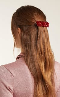 Shrimps Red Cleo Bead Embellished Hair Clip Preview Images