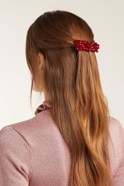Shrimps Red Cleo Bead Embellished Hair Clip
