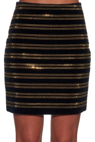 Balmain Black Embellished Velvet Mini Skirt 2