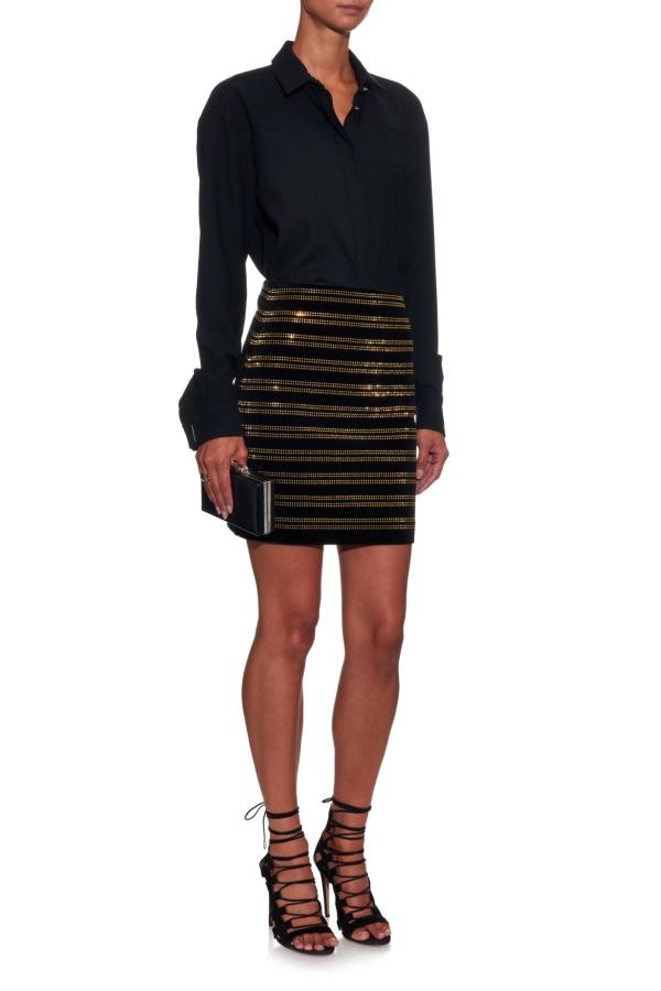 Balmain Black Embellished Velvet Mini Skirt 3