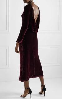 Saloni Tina Boat-Neck Velvet Dress 7 Preview Images
