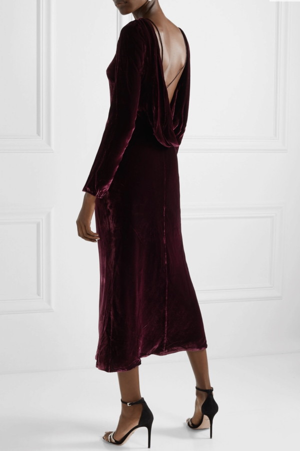 Saloni Tina Boat-Neck Velvet Dress 6